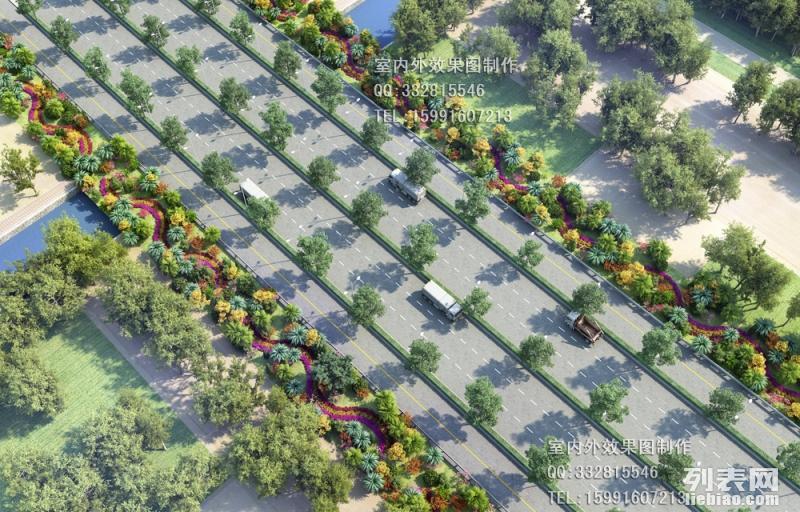 西安鸟瞰效果图制作-景观绿化-鸟瞰图设计