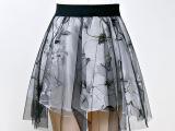 阿里巴巴厂家直销半身裙夏欧美印花欧根纱短裙网纱蓬蓬裙一件代发