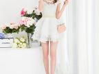 实拍2014夏新款女装 钉珠蕾丝拼接蛋糕裙 中长款连衣裙批发
