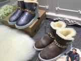 现货!冬季保暖女士雪地靴平底防滑羊皮毛一