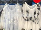 S家拼接花朵蕾丝刺绣一字领上衣雪纺衫荷叶边裙罩衫SNIDEL