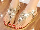 厂家直销坡跟防滑人字夹脚女士凉鞋 水钻欧美中跟女鞋 一件代发