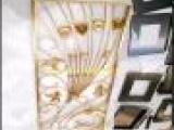 批发四折屏风  欧式风格钛金不锈钢镂空花型花格屏风隔断装饰