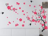 批发 三代可移除墙贴中国风沙发电视背景壁画梅花壁纸环保AY818