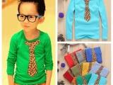 韩版秋款品牌男童装打底衫原单批发 时尚假领带儿童长袖T恤 厂家