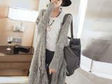2015秋款韩版女装流苏羊毛衫中长款毛衣外套宽松披肩开衫针织