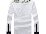 2014春装新款方领衬衣潮男 男士长袖修身韩版骷髅头烫钻衬衫男C