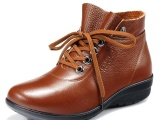 正品头层牛皮女鞋 真皮高帮鞋 复古女鞋