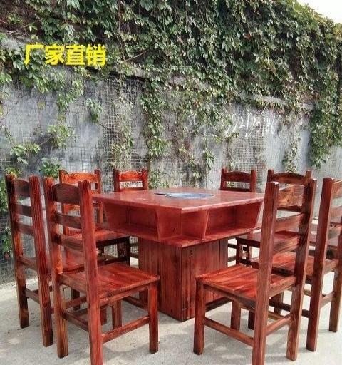 厂家直销碳烧木火锅桌,柴火灶,餐桌,椅子/凳,吧台