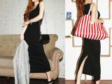 一件代发夏韩版中长裙女士包臀裙一步裙修腰修身开叉裙长裙连衣裙