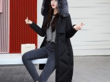 冬装新款羽绒棉服女韩版中长款修身加厚时尚长装大毛领棉衣外套