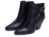 厂家直批2014秋冬季新款女靴外贸真皮尖头短靴侧拉链粗跟女短靴
