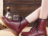 比佳妮 2014秋新款单靴真皮平底低跟马丁靴系带短筒靴子时尚女靴