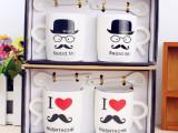 创意带勺情侣杯子 一对喝水杯子 小胡子情