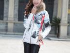 2014秋冬装新款女式羽绒服女短款韩版修身印花羽绒服批发贴牌加工