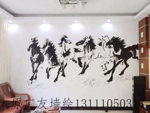 手绘电视墙画 沙发背景画 KTV壁画 酒店壁画