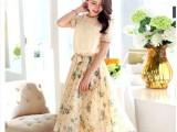 2014夏装新款韩版小清新碎花女装气质雪纺印花长裙连衣裙