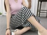 女装显瘦款春装夏装微胖加肥加大码腰带阔腿休闲裤