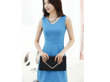 2014夏装新款女装 韩版修身OL气质短袖连衣裙