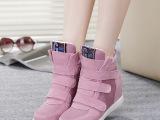 温州品牌直销2014新款真皮磨砂皮内增高女鞋平底平跟魔术贴高帮鞋