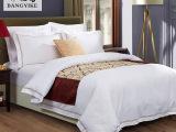 宾馆酒店布草床上用品四件套 全棉加密贡缎刺绣绣字 诚信让利促销