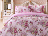 众派国际全棉彩棉欧式婚庆床上用品高支高密贡缎提花印花四件套