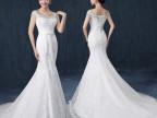 人气新款高档鱼尾婚纱新娘礼服 一字包肩修身显瘦拖尾影楼婚纱D72