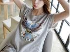 夏装韩版宽松短袖t恤女中长款大码显瘦印花T恤裙半袖潮