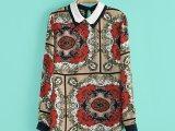2014早春新款欧美宫廷巴洛克复古衬衫雪纺衫女士衬衣