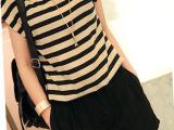 2014热销新款品牌连体裤 夏季雪纺女式连身裤 韩版条纹女裤子批发