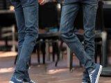 春夏新款男装深灰色修身小脚牛仔裤男式韩版中腰弹力牛仔铅笔裤男