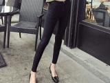 欧美时尚 双排拉链修身显瘦打底裤义乌纯色大码铅笔裤小脚裤子女