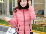 秋冬韩版新品加厚棉服修身有口袋连帽外套保暖女式棉衣批发