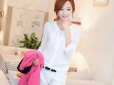 2014新款女装春夏 韩版衬衫女修身显瘦大码V领打底小衫