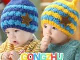 【小蜜蜂触角双球单帽】儿童立体造型护耳单帽 宝宝毛线加绒帽子
