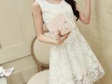 新款女装韩版夏季蕾丝修身欧根纱短裙大码雪纺打底连衣裙雪纺衫