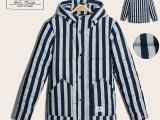 新款男式棉衣 日系男装粗条纹带帽男士棉衣 双口袋拉链棉衣外套