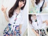 时尚女装韩版甜美夏季修身短袖两件套碎花雪纺连衣裙