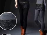假两件打底裤裙裤秋冬款女韩版潮蕾丝拉链褶皱显瘦打底裤