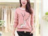 2015春季新款打底衫韩版蕾丝领时尚小鹿图案针织衫显瘦长袖外套