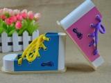 儿童早教益智仿真穿系绑鞋带鞋子模型DIY动手操作木制玩具教具