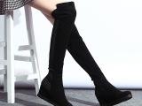 欧洲站14秋冬新潮真皮韩版女靴子磨砂内增高过膝长靴弹力女鞋