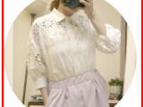 韩国stylenanda复古唯美可爱萝莉镂空刺绣刻花灯笼袖衬衫女