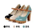 2013秋季新款脚腕扣带女鞋 欧美漆皮超高跟厚底粗跟女单鞋