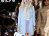 厂家直供2014秋冬新款女装miu蓝色羊毛呢外套 欧美大牌羊绒大