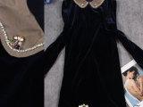 港产名媛大码女士秋季新款法兰绒长袖金色小翻领连衣裙 超爆款