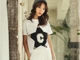 韩版春装新款时尚百搭潮打底衫显瘦女装短袖纯棉t恤女