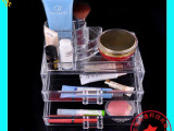 二层抽屉盒 透明高档化妆品收纳盒 亚克力环保出口化妆品盒