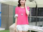 2014夏季新品女装韩版修身时尚圆领短袖两件套打底衫小衫休闲套装