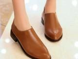 【热销】精品学院风人造pu女单鞋 尖头低跟纯色百搭鞋子物美价廉